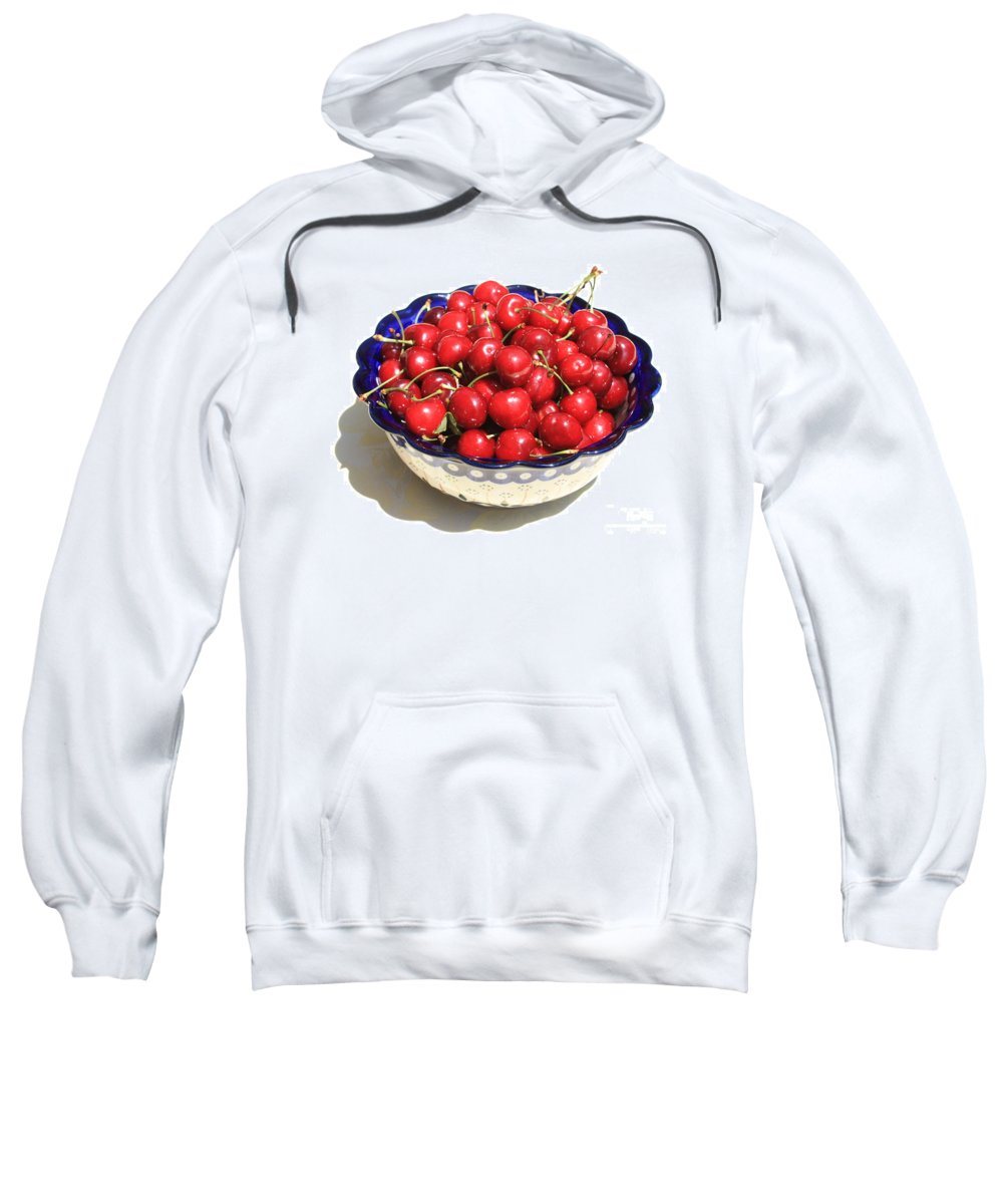 Cherries Sweatshirt featuring the photograph Simply A Bowl Of Cherries by Carol Groenen