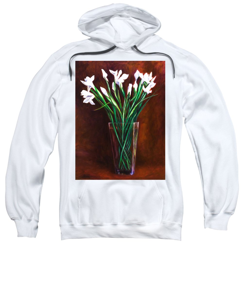 Iris Sweatshirt featuring the painting Simply Iris by Shannon Grissom