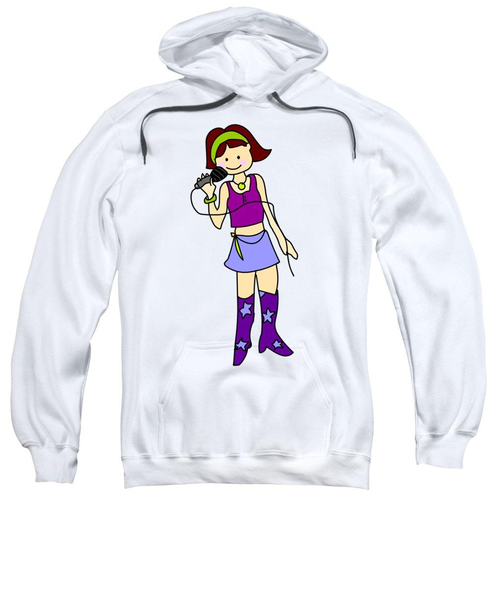Siner Sweatshirt featuring the digital art Singer Girl by Mokile