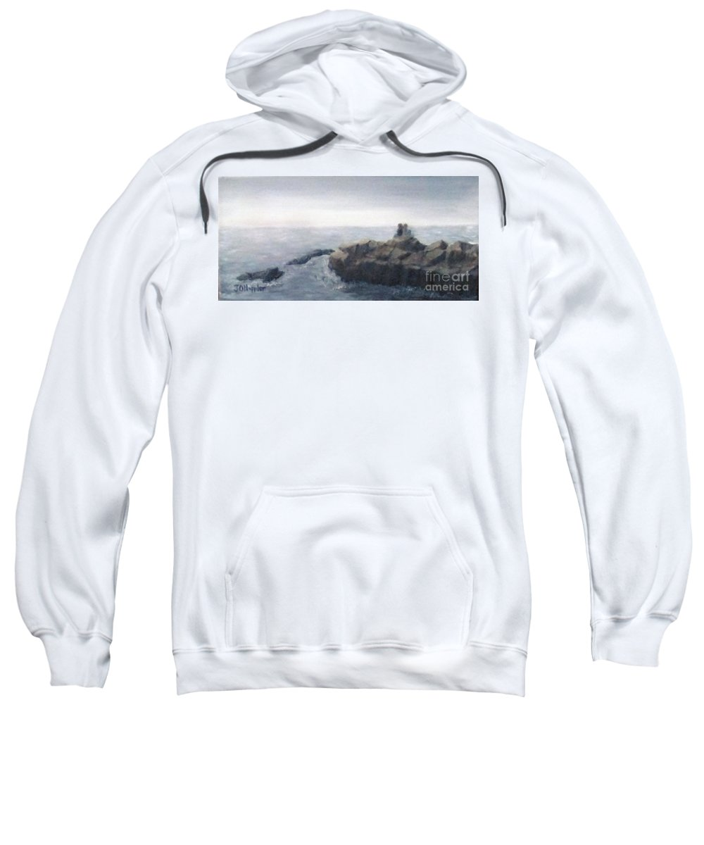 Landscape Sweatshirt featuring the painting Sisters Rocks Lake Superior 2 by J O Huppler