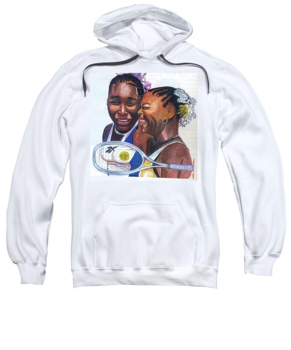 Sports Sweatshirt featuring the painting Sisters Williams by Emmanuel Baliyanga