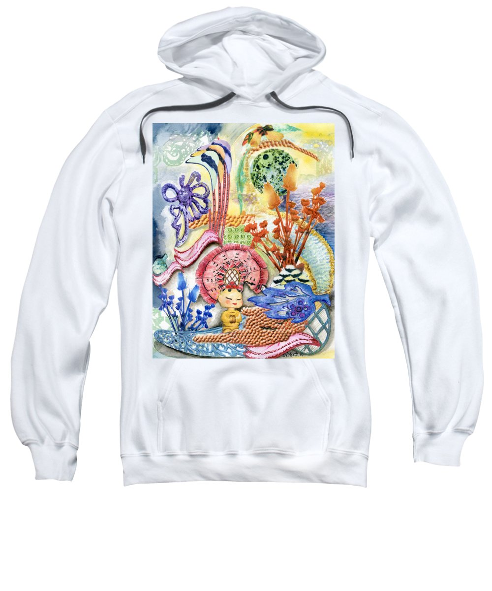 Bright Sweatshirt featuring the painting Sitting Pretty by Valerie Meotti