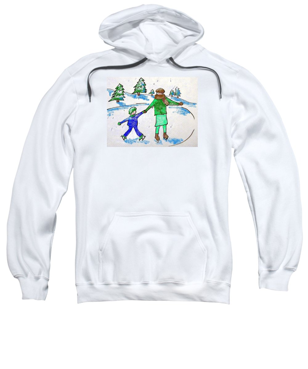 Mom And Son Ice Skating Sweatshirt featuring the drawing Skating With Mom by Janet Lavida