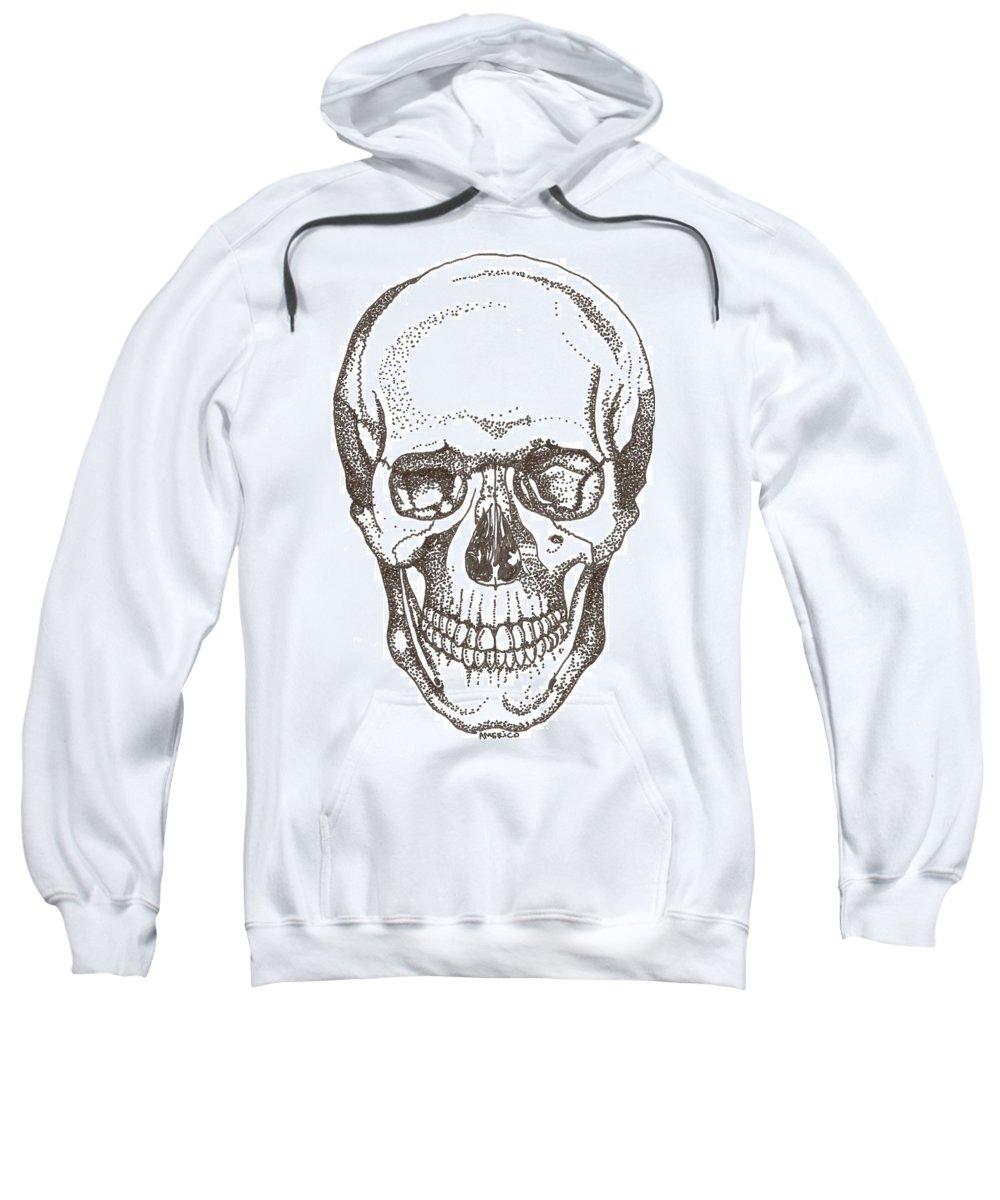 Skull Sweatshirt featuring the drawing Skull by Americo Salazar