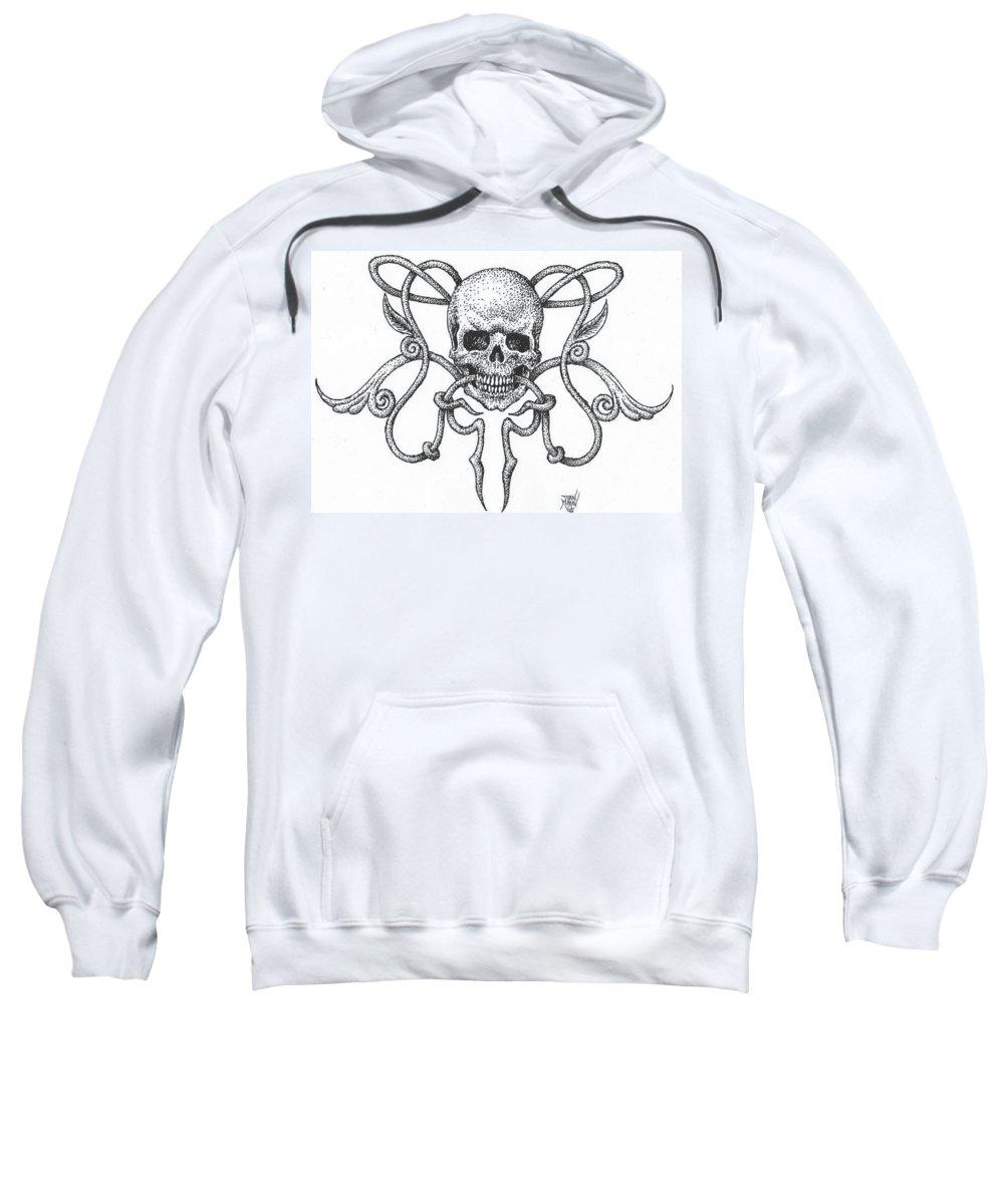 Skull Sweatshirt featuring the drawing Skull Design by Dan Moran