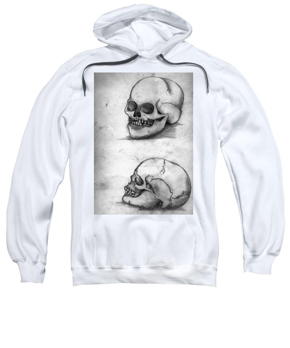 Skull Sweatshirt featuring the drawing Skull Drawing by Alban Dizdari
