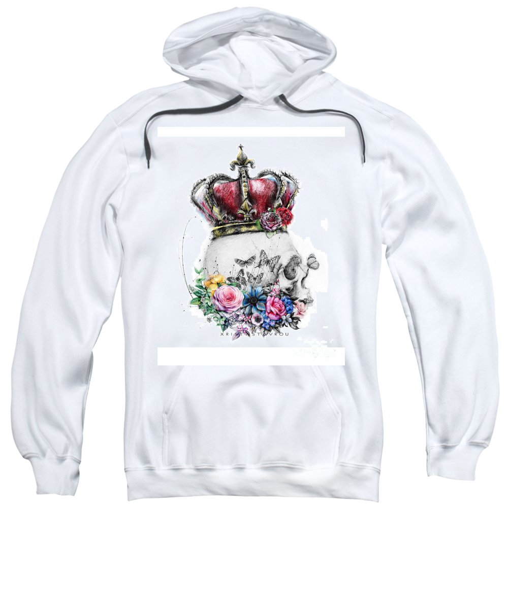 Romance Sweatshirt featuring the digital art Skull Queen With Flowers by Xrista Stavrou