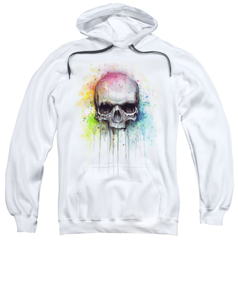 Skull Sweatshirt featuring the painting Skull Watercolor Painting by Olga Shvartsur