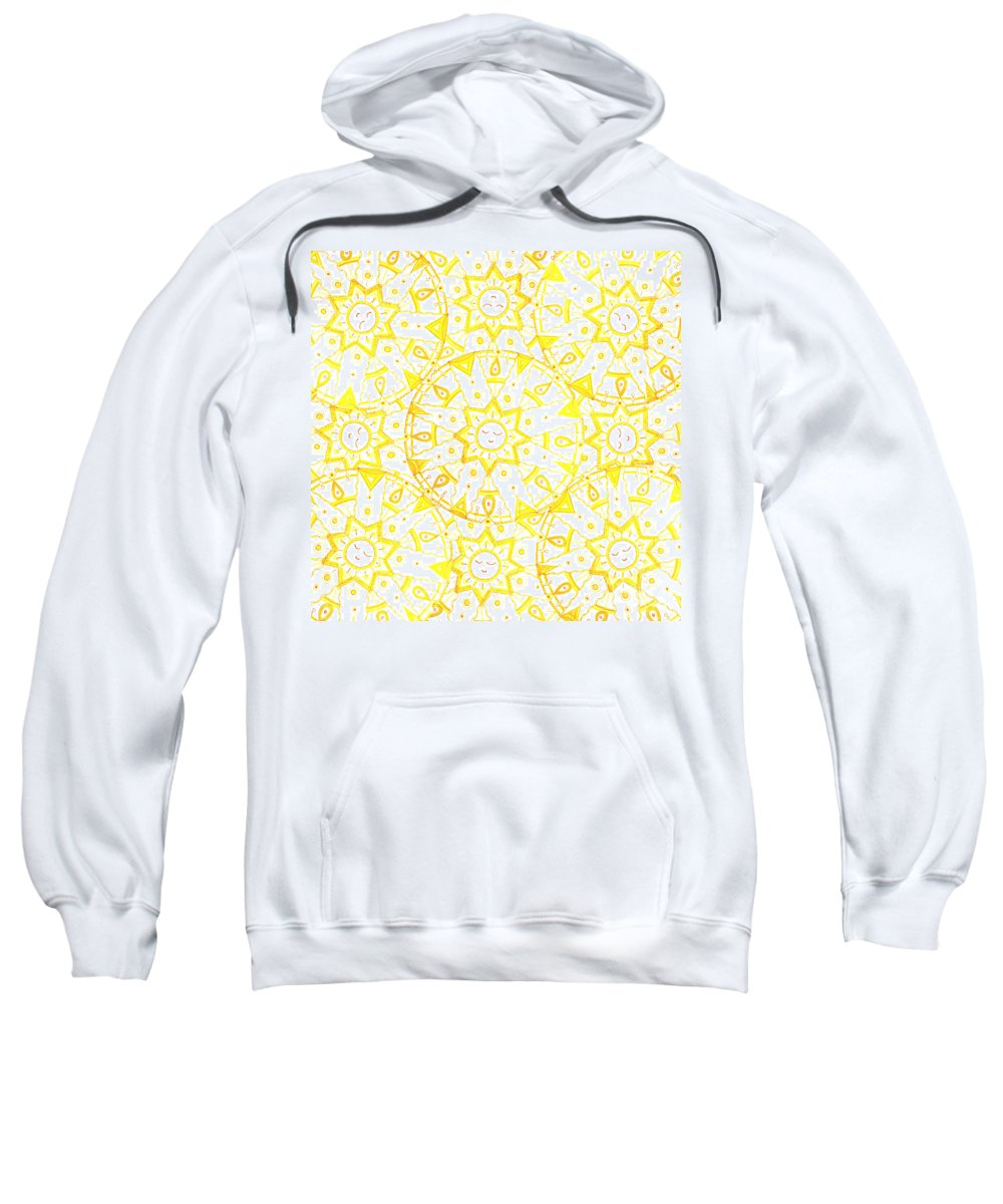 Mandala Sweatshirt featuring the drawing Sleeping Sun by Signe Beatrice