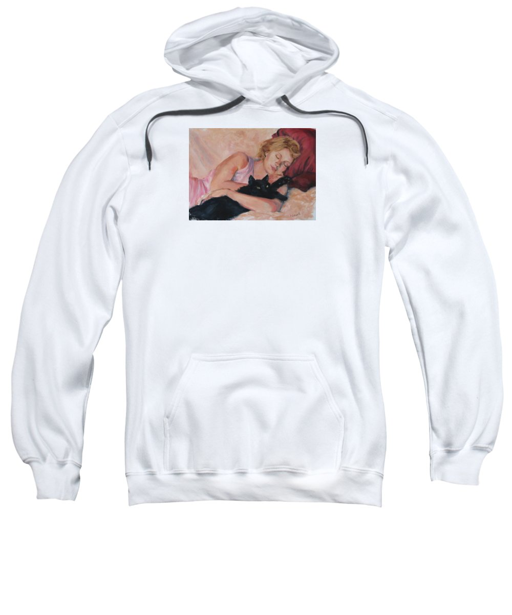 Portrait Sweatshirt featuring the painting Sleeping With Fur by Connie Schaertl
