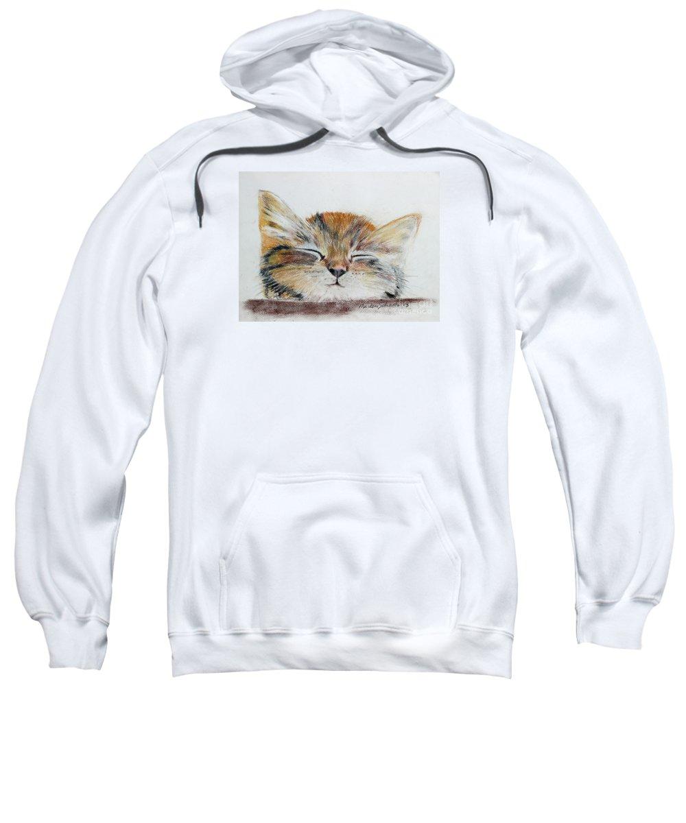 Kitten Sweatshirt featuring the painting Sleepyhead by Marlene Schwartz Massey
