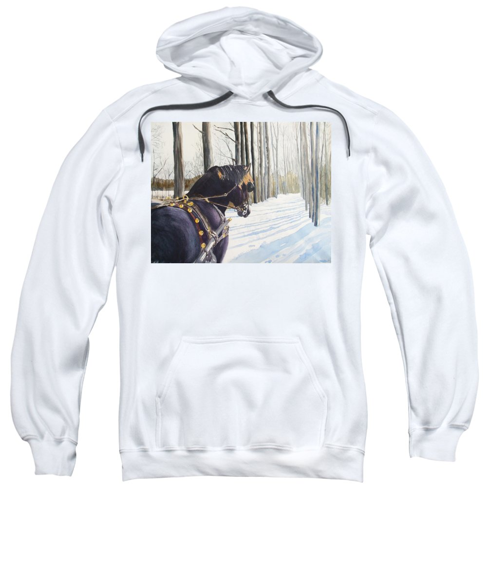 Horse Sweatshirt featuring the painting Sleigh Bells by Ally Benbrook