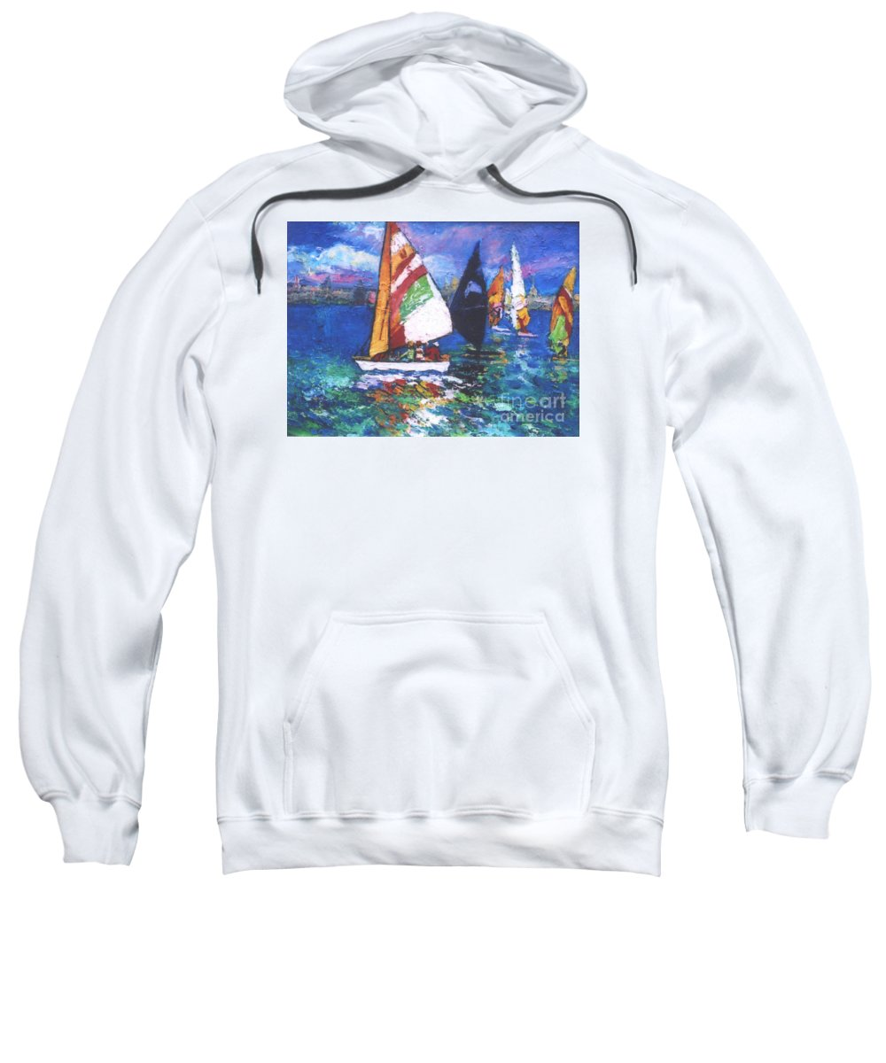 Sails Sweatshirt featuring the painting Small Boats by Guanyu Shi
