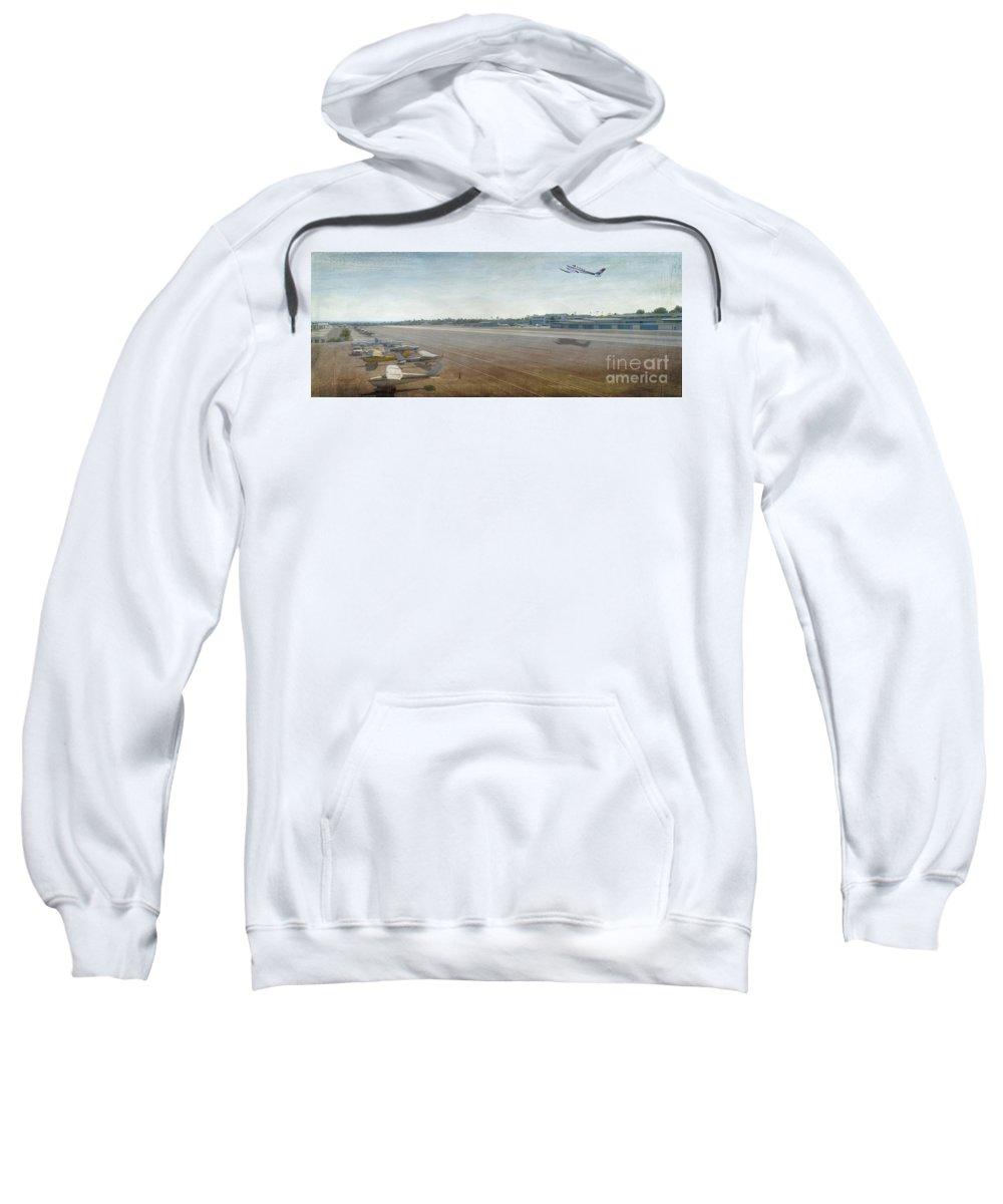 City Airport Sweatshirt featuring the photograph Small City Airport Plane Taking Off Runway by David Zanzinger