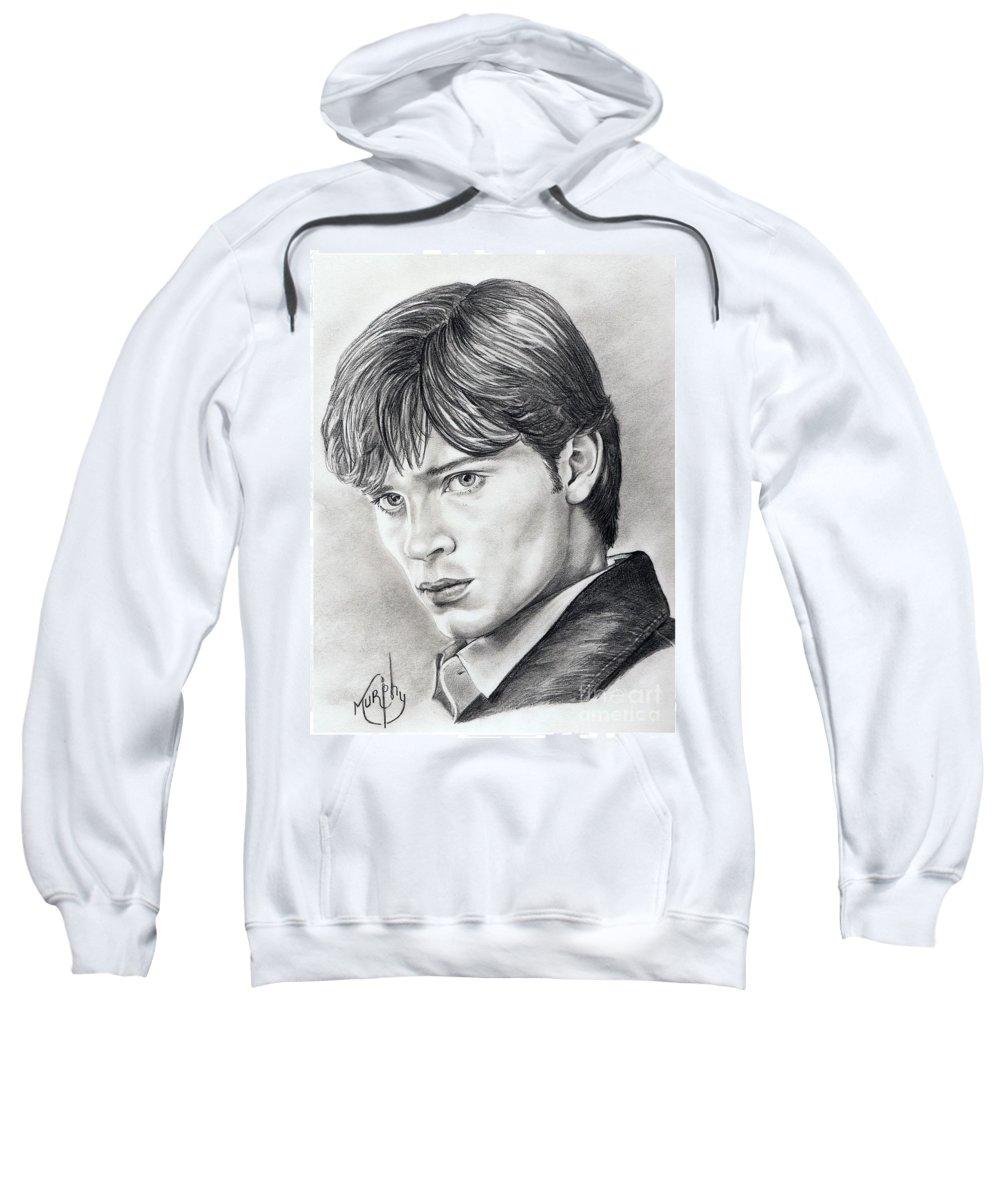Superman Sweatshirt featuring the drawing Smallville Tom Welling by Murphy Elliott
