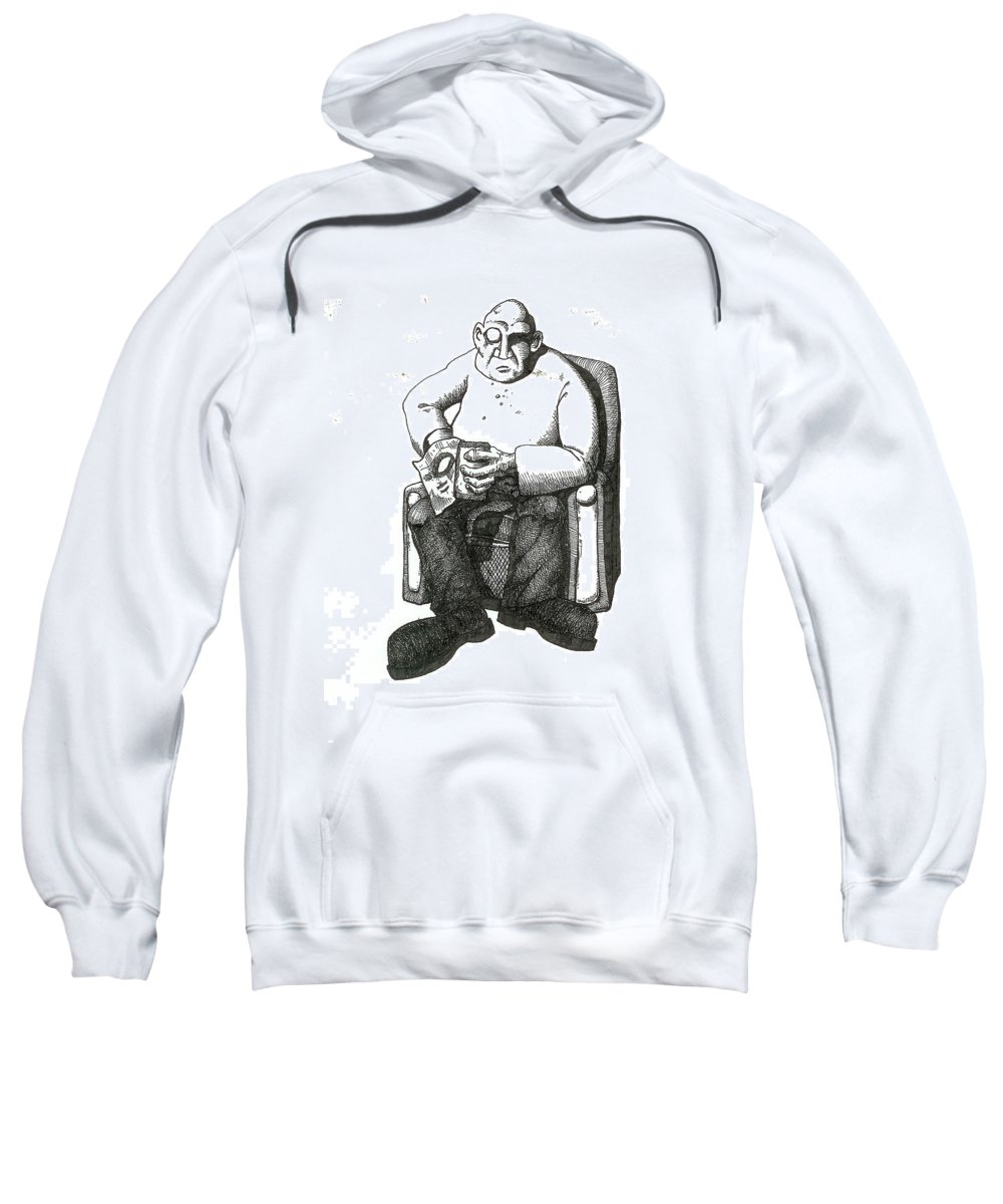 Buddha Sweatshirt featuring the drawing Snacks by Tobey Anderson