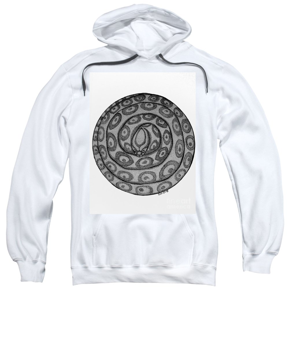 Animal Sweatshirt featuring the drawing Snake Ball by Nick Gustafson