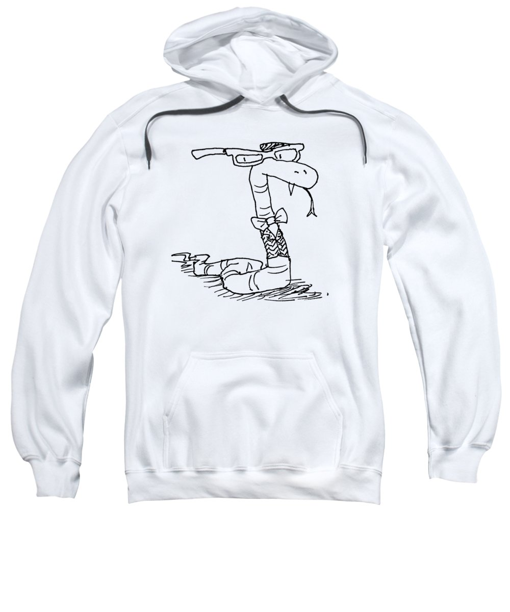 Snake Sweatshirt featuring the drawing Snake Nerd by Ted Nunes