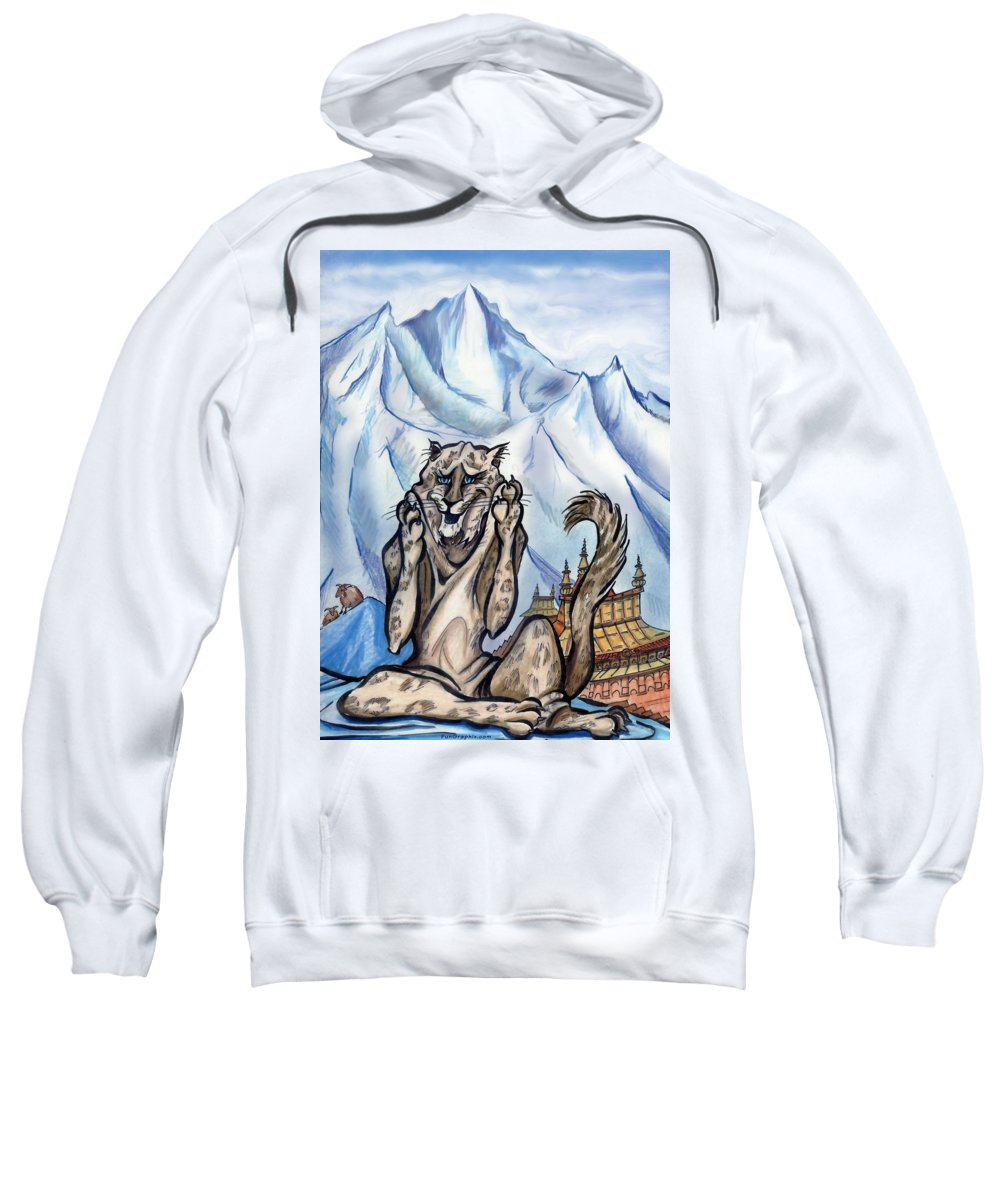 Ice Sweatshirt featuring the painting Snow Leopard by Kevin Middleton