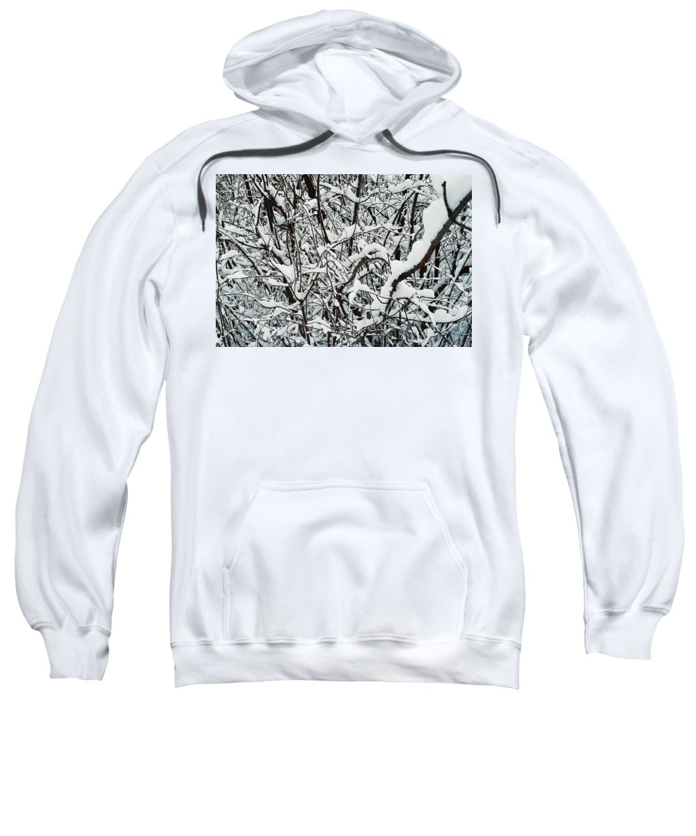 Abstract Sweatshirt featuring the photograph Snow On Branches by Ric Bascobert