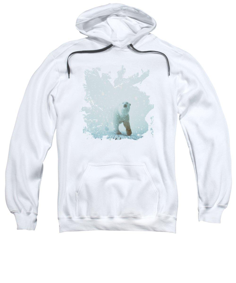 Polar Bear Winter Snow Predator Cold Sweatshirt featuring the digital art Snow Patrol by Katherine Smit