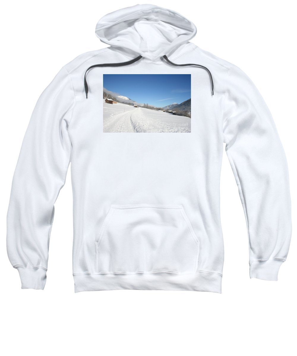 Field Sweatshirt featuring the photograph Snow White Field by Christiane Schulze Art And Photography