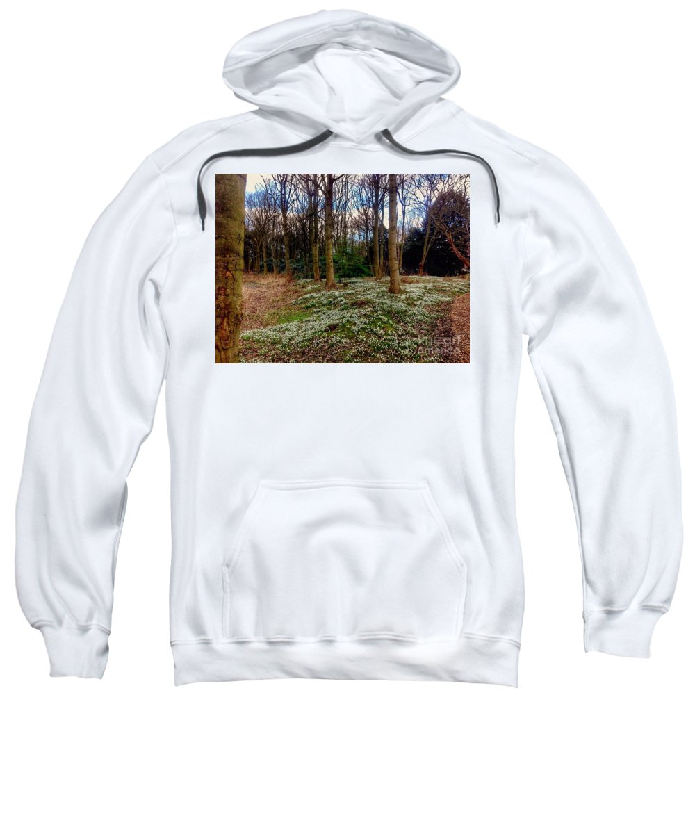 Snowdrops Sweatshirt featuring the photograph Snowdrop Woods 2 by Joan-Violet Stretch