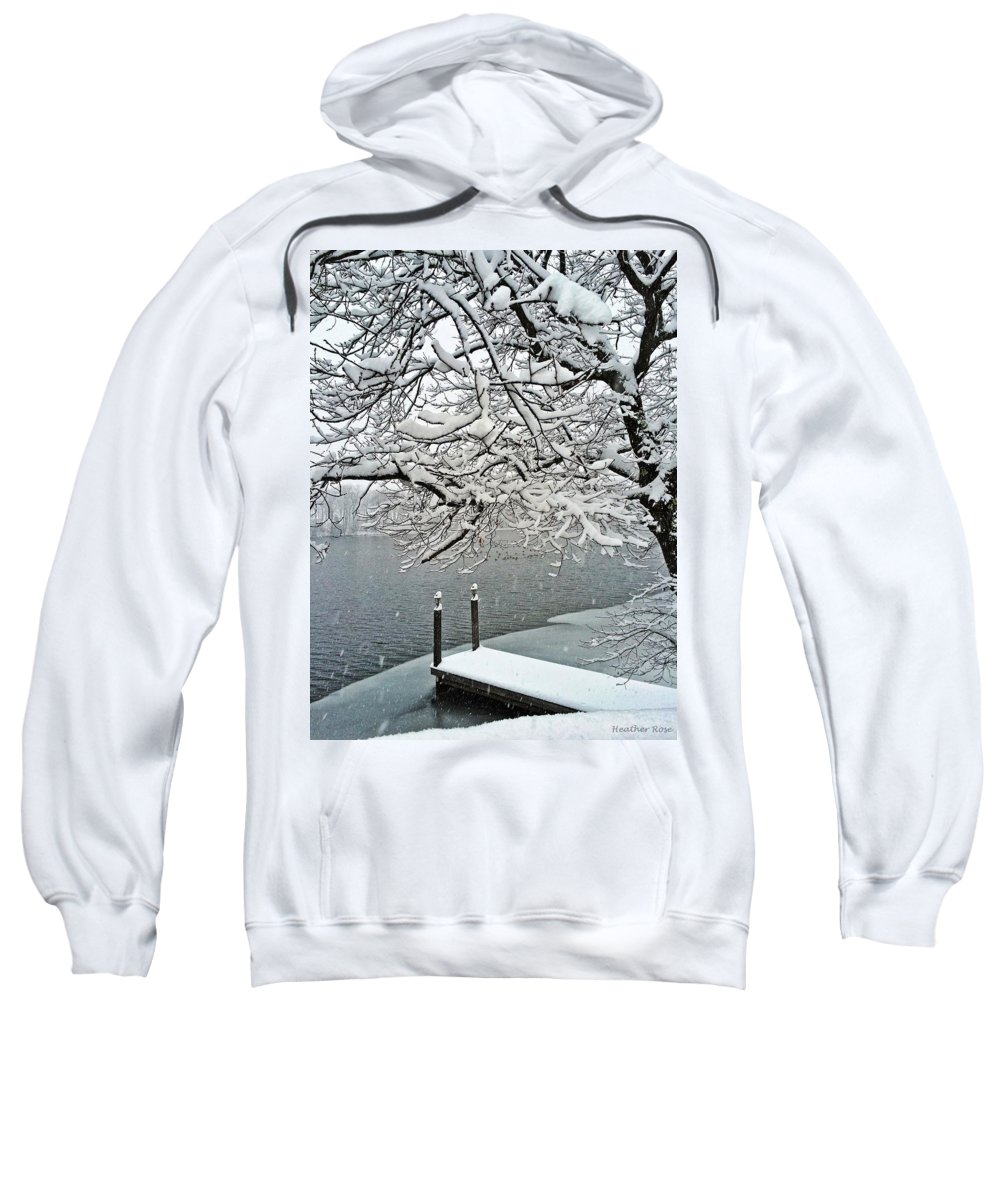 Winter Sweatshirt featuring the photograph Snowy Dock by Heather Rose