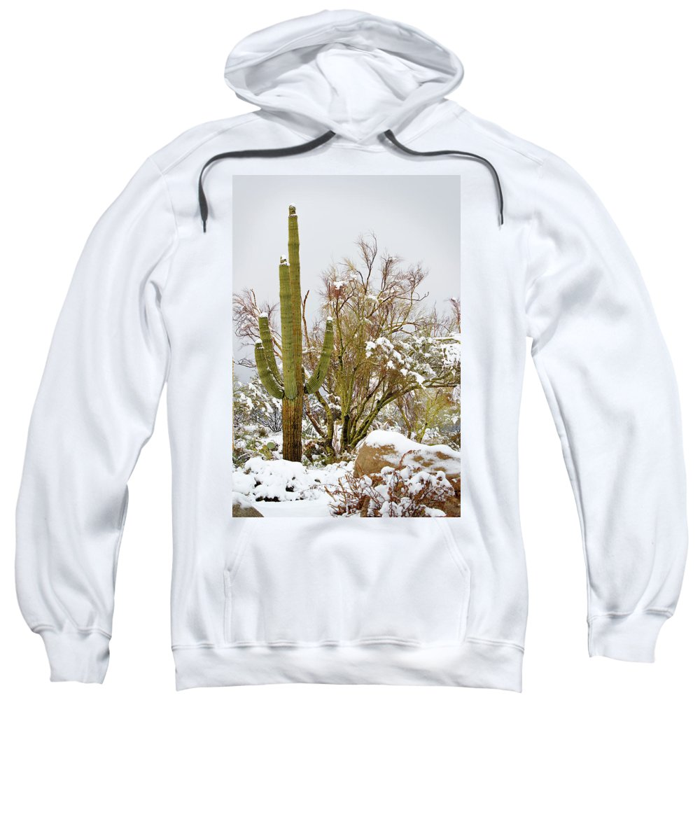 Saguaro Sweatshirt featuring the photograph Snowy Saguaro by Phyllis Denton