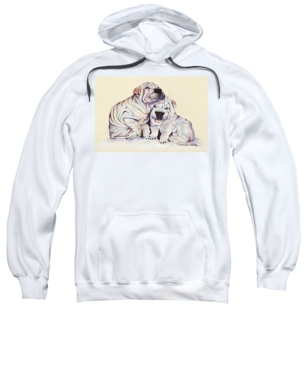 Dog Painting Sweatshirt featuring the pastel Snuggles by Pat Saunders-White