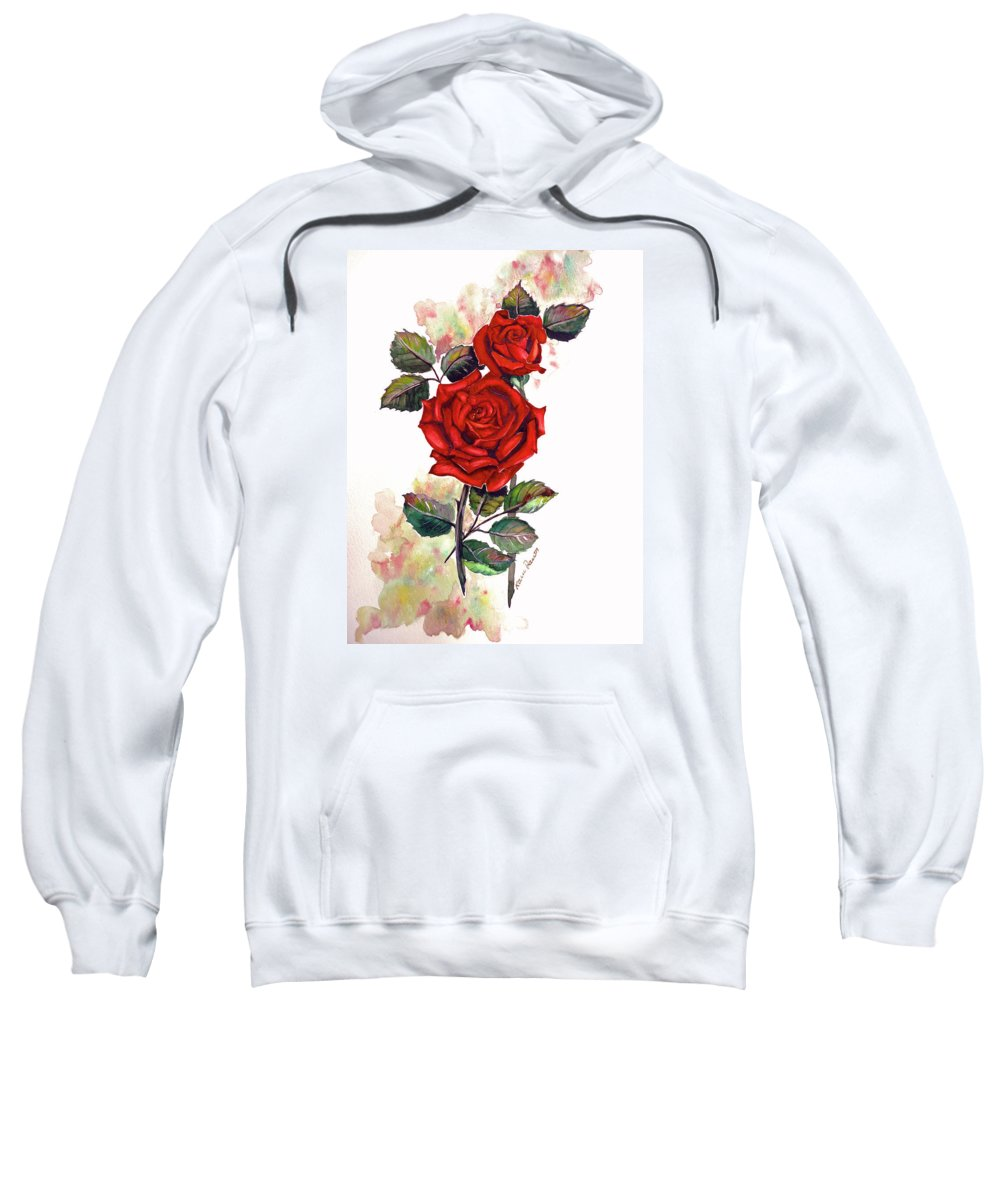 Red Rose Paintings Sweatshirt featuring the painting So Red by Karin Dawn Kelshall- Best
