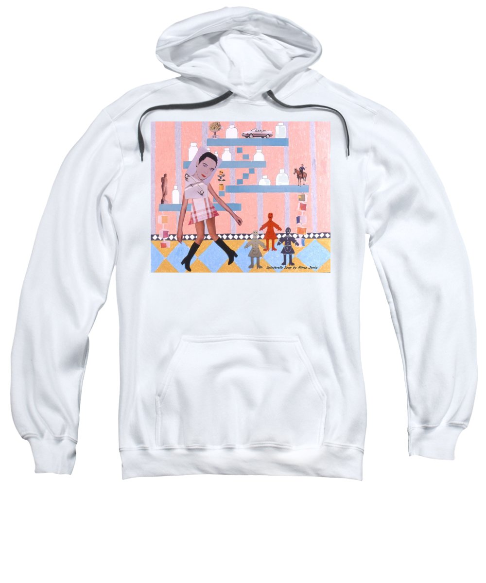 Cowboy Sweatshirt featuring the drawing Soap Scene #16 Miracle Maids by Minaz Jantz