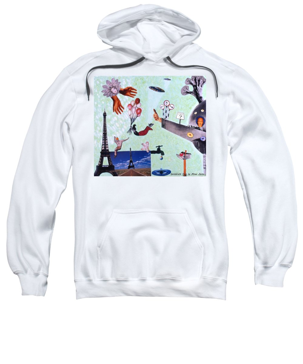 Eiffel Tower Sweatshirt featuring the drawing Soap Scene #27 Zelestial Headquarters by Minaz Jantz