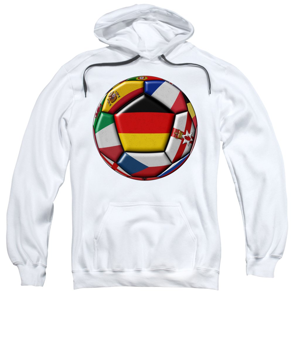 Europe Sweatshirt featuring the digital art Soccer Ball With Flag Of German In The Center by Michal Boubin