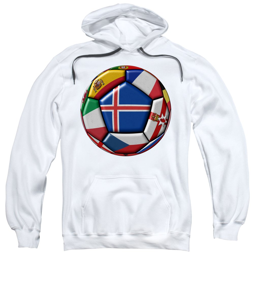 Europe Sweatshirt featuring the digital art Soccer Ball With Flag Of Iceland In The Center by Michal Boubin