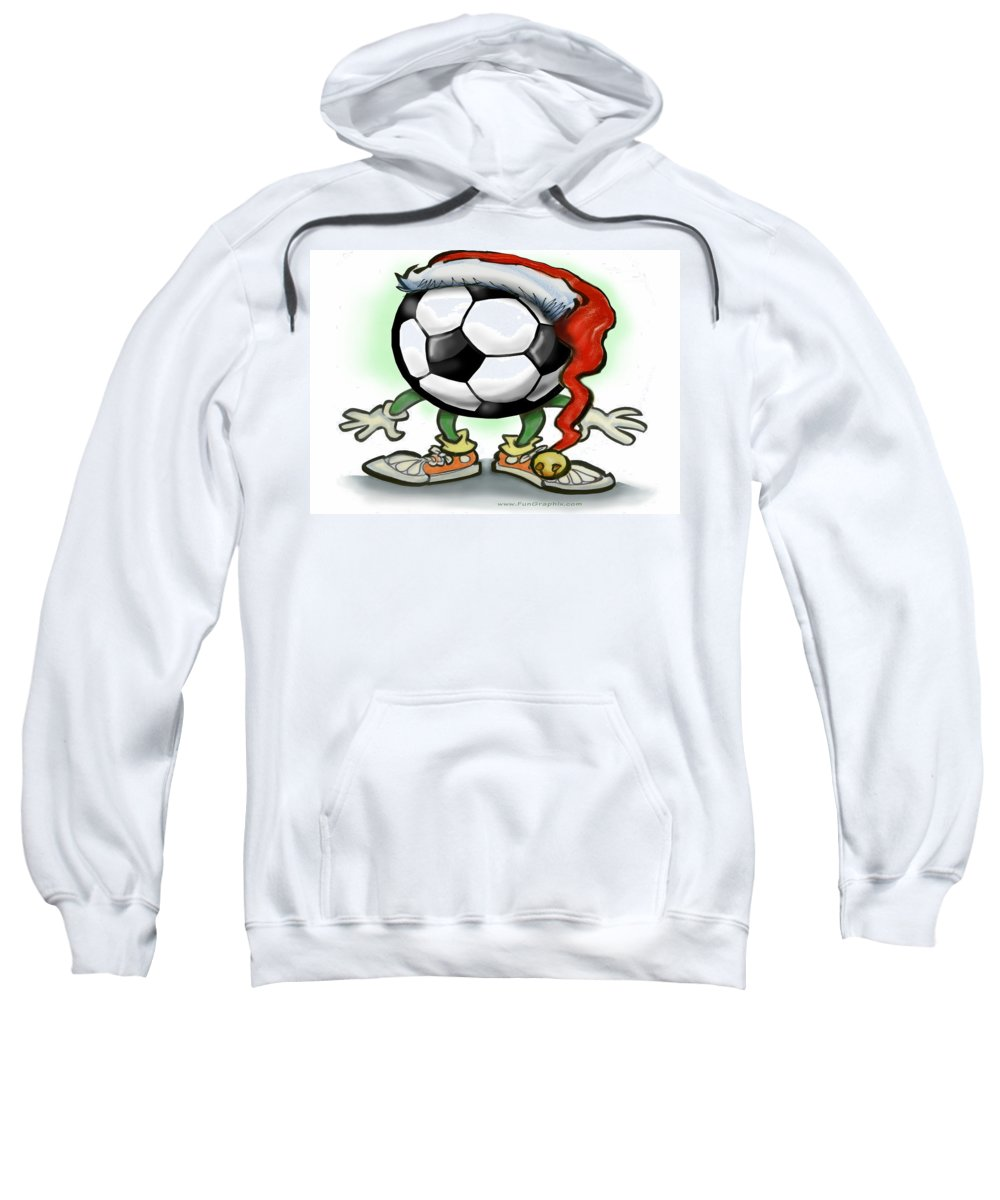 Soccer Sweatshirt featuring the greeting card Soccer Christmas by Kevin Middleton