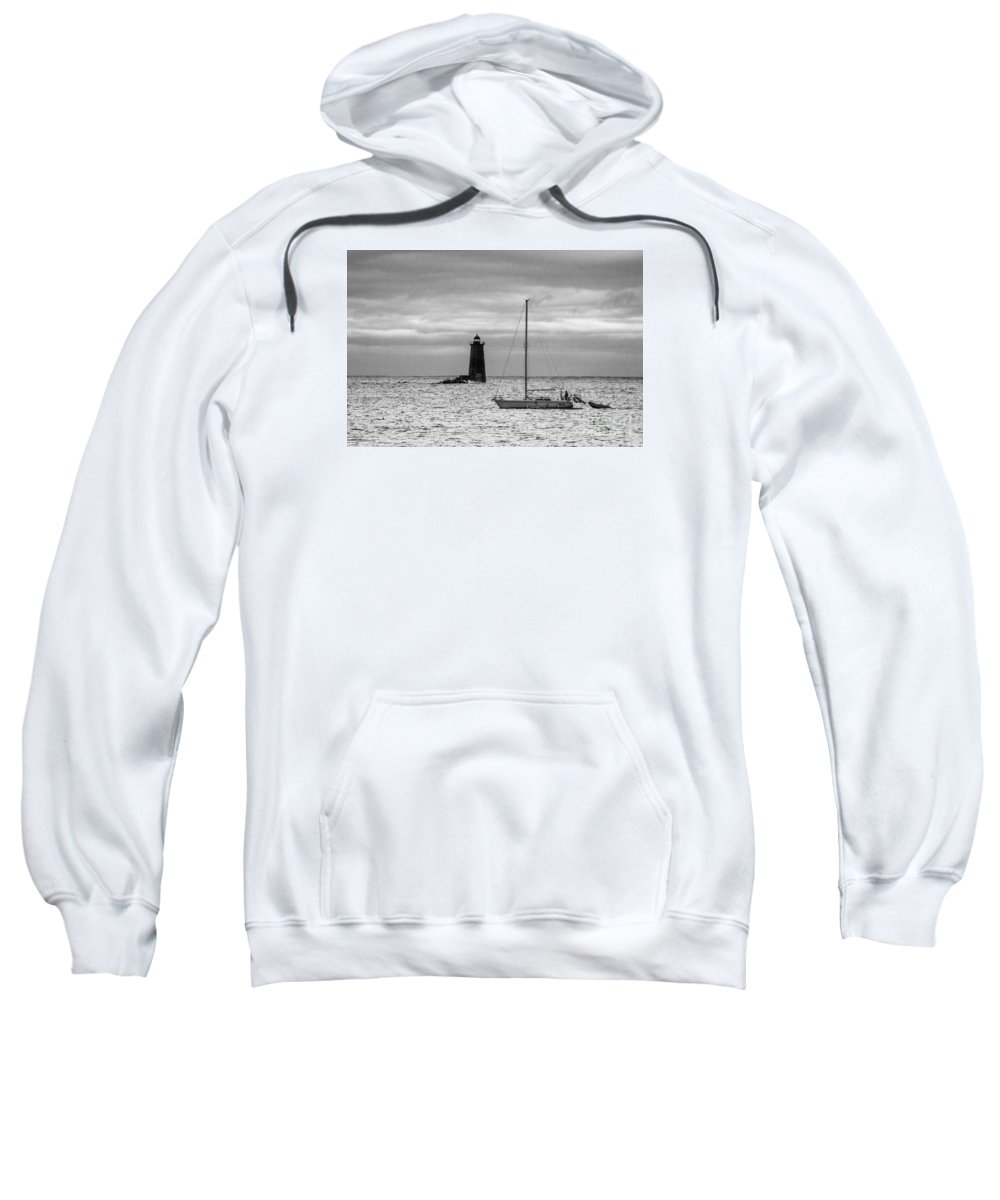 Sunrise Sweatshirt featuring the photograph Solitary Sailor, New Castle Sunrise by Jim Hayes