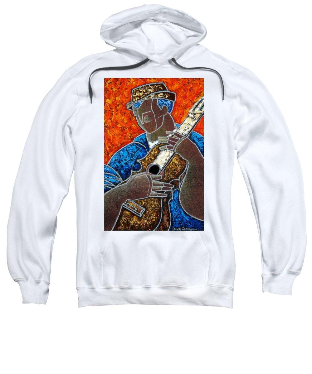 Puerto Rico Sweatshirt featuring the painting Solo De Cuatro by Oscar Ortiz