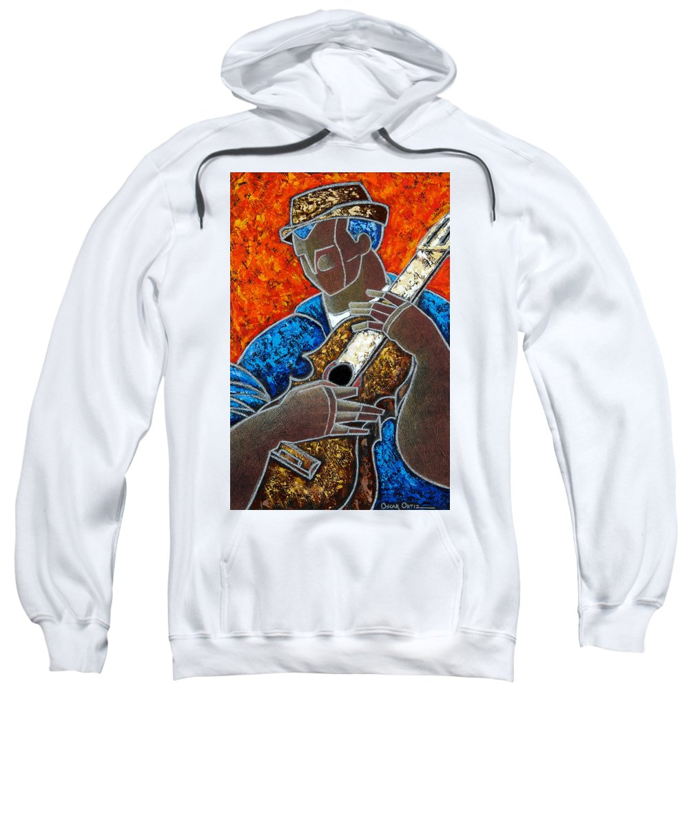 Puerto Rico Sweatshirt featuring the painting Solo De Cuatro by Oscar Ortiz