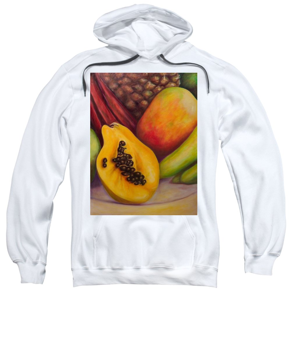 Tropical Fruit Still Life: Mangoes Sweatshirt featuring the painting Solo by Shannon Grissom