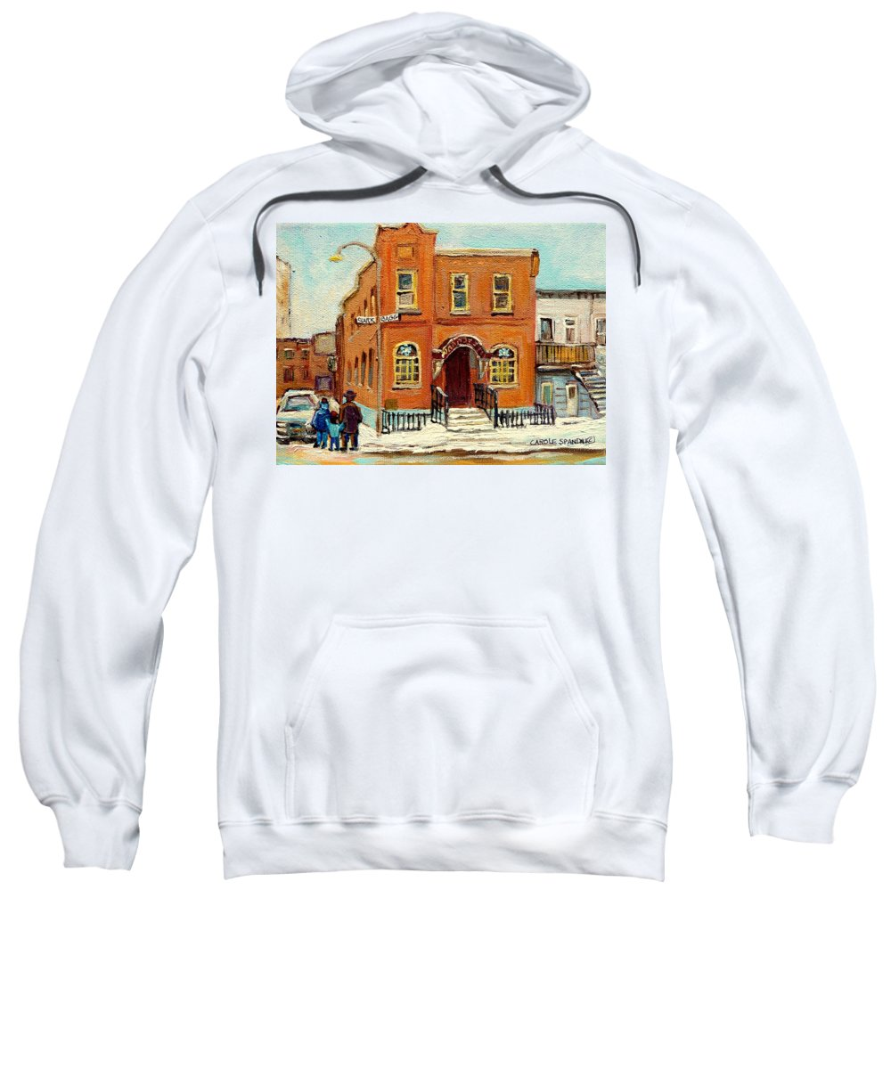 Bagg Street Synagogue Sweatshirt featuring the painting Solomons Temple Montreal Bagg Street Shul by Carole Spandau