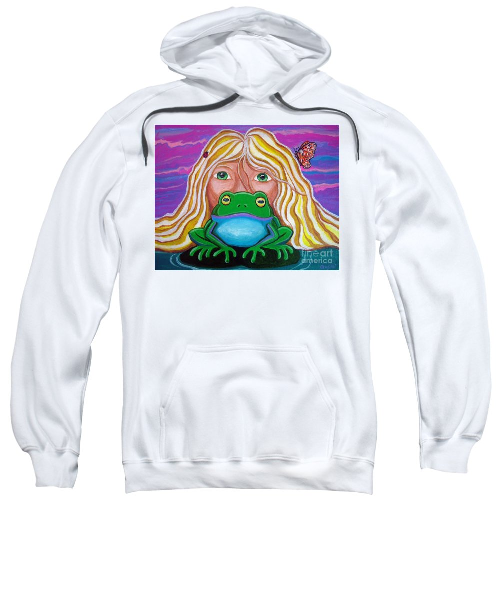 Frog Sweatshirt featuring the painting Somebody's Prince by Nick Gustafson