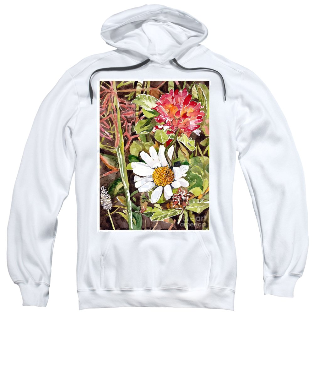 Blue Sweatshirt featuring the painting Somewhere In The Grass by Suzann Sines