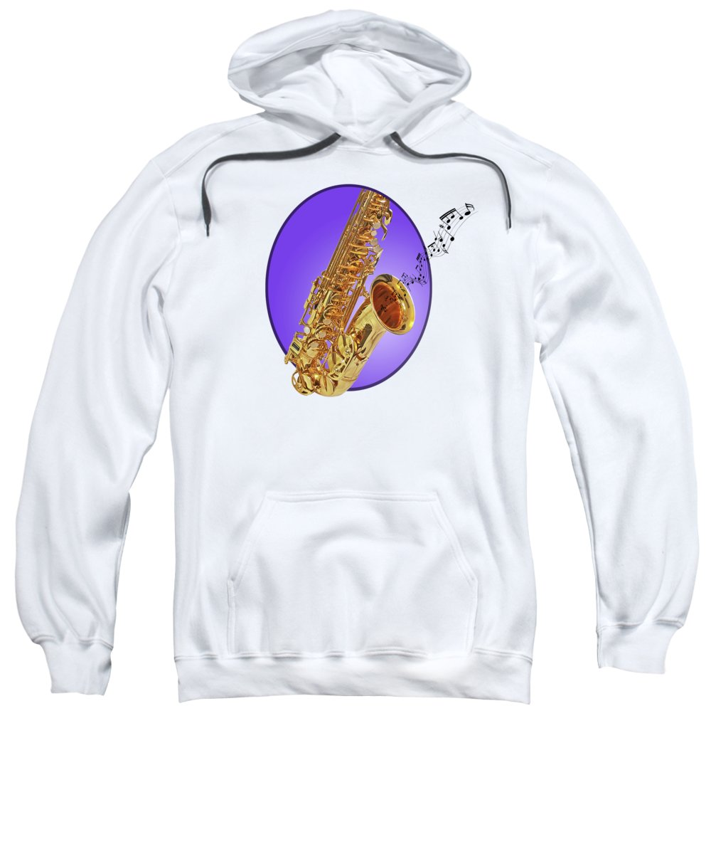 Music Sweatshirt featuring the photograph Sounds Of The Sax In Purple by Gill Billington