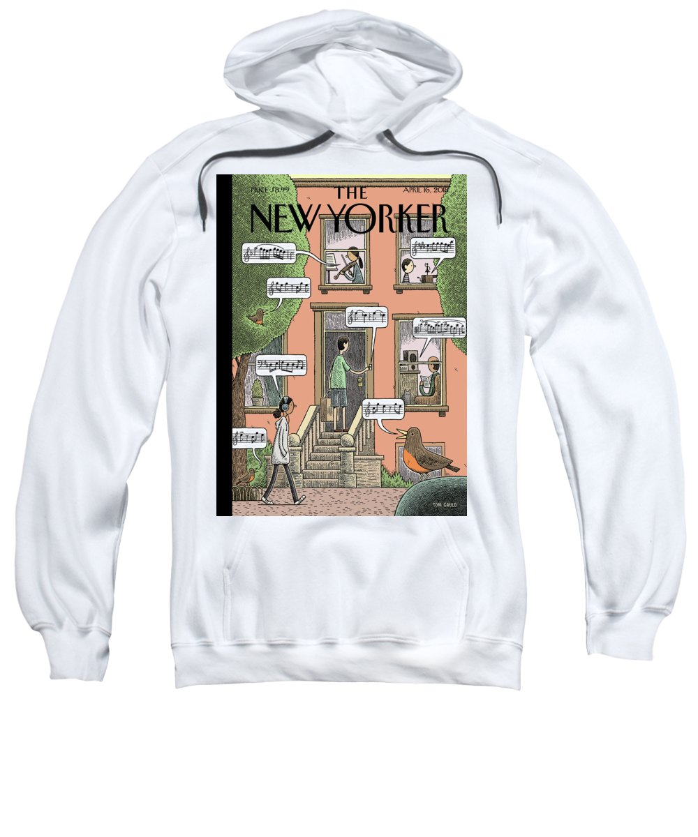 Soundtrack To Spring Sweatshirt featuring the painting Soundtrack to Spring by Tom Gauld