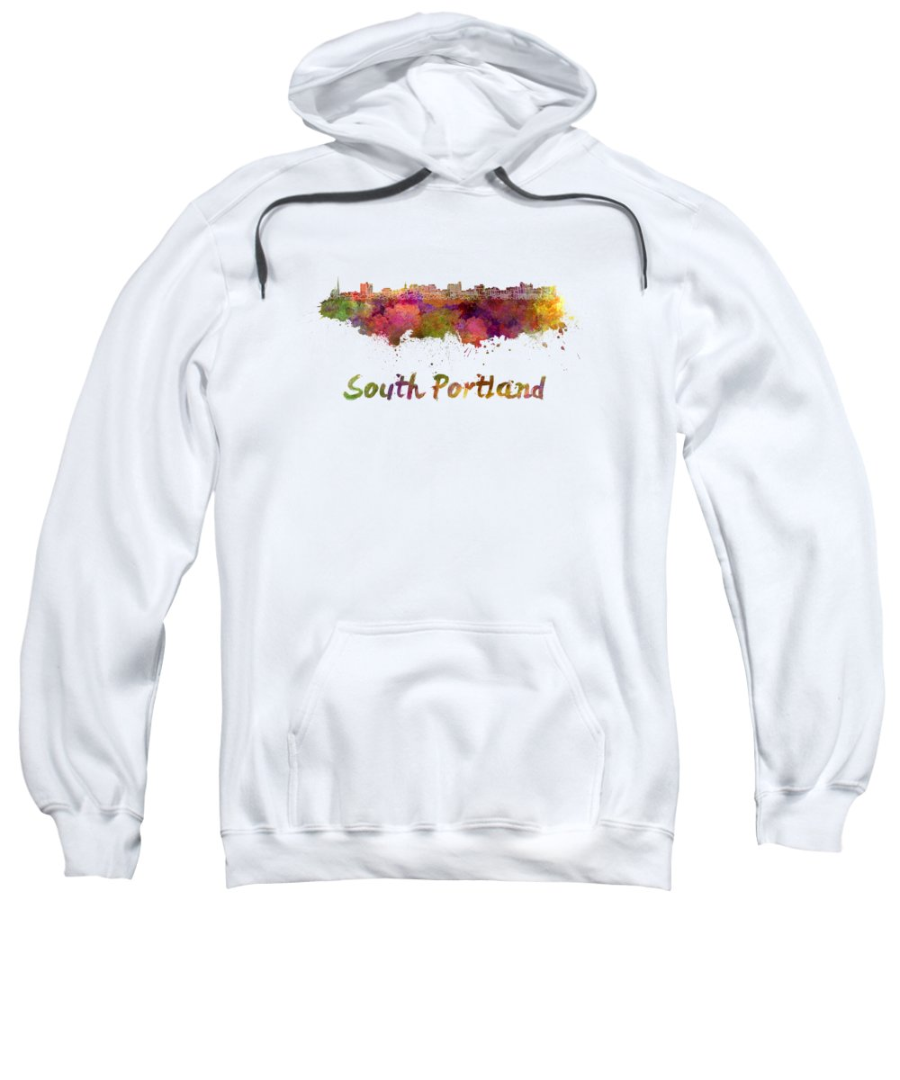 South Portland Sweatshirt featuring the painting South Portland Skyline In Watercolor by Pablo Romero