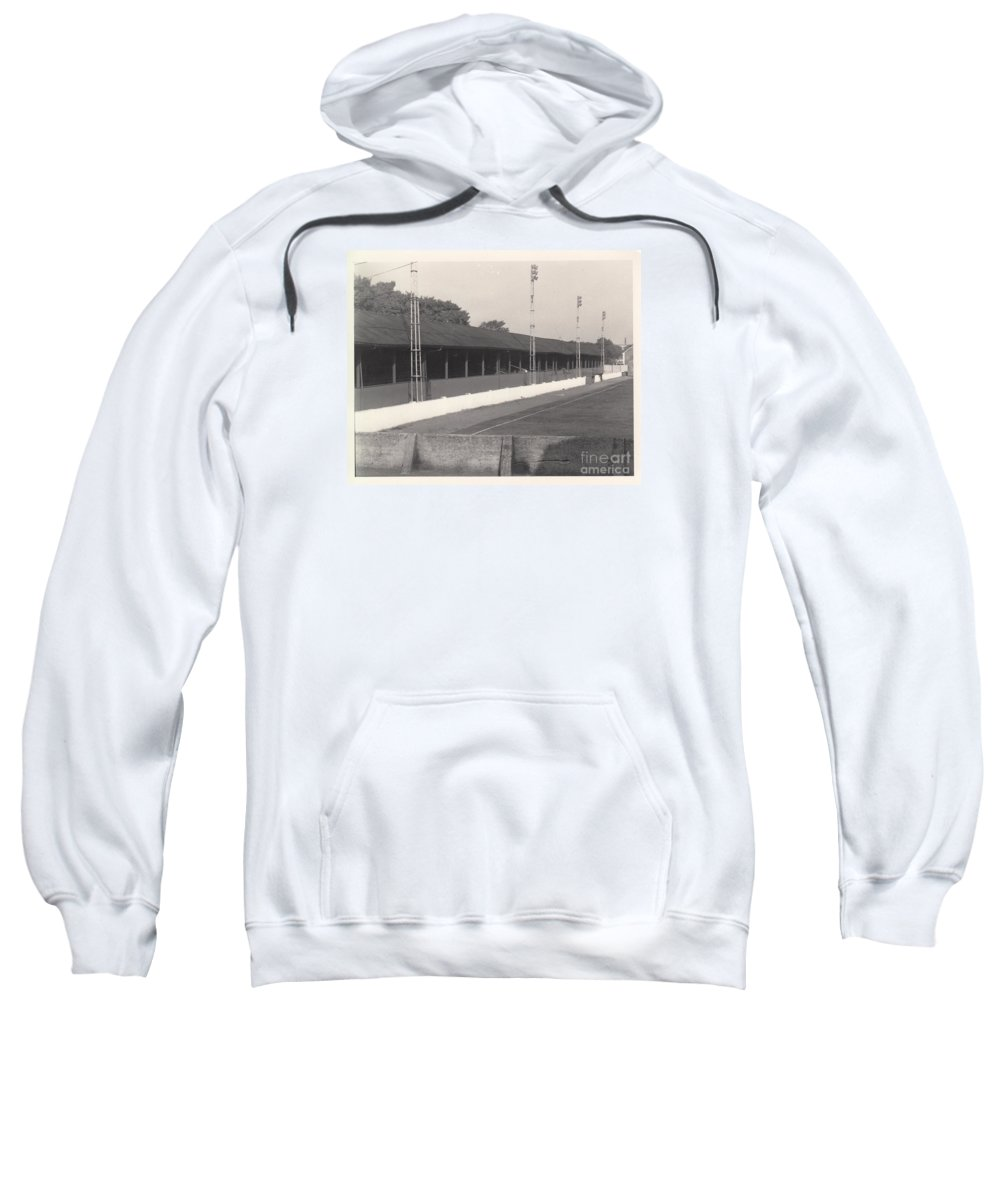 Sweatshirt featuring the photograph Southport Fc - Haig Avenue - Old Main Stand - Bw - Early 60s by Legendary Football Grounds
