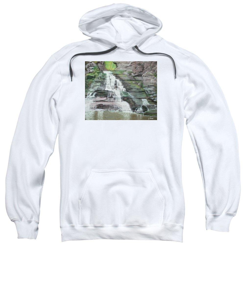 Waterfall Sweatshirt featuring the pastel Sparkling Falls by Gabriele Ziebart