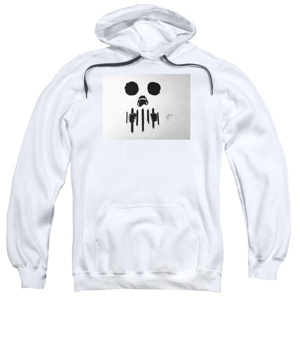 Skull Sweatshirt featuring the drawing Speak No Evil by Josh Yaros