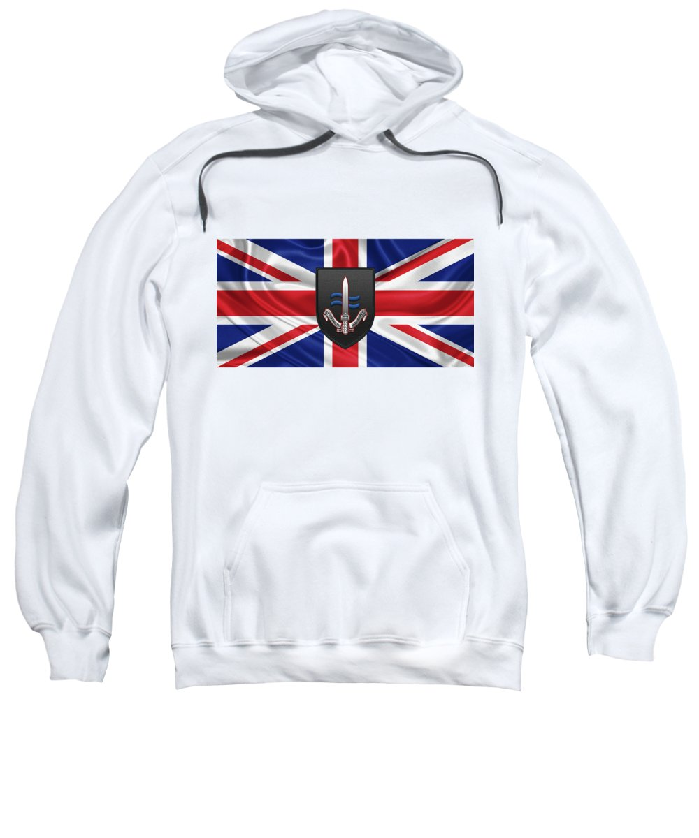 'military Insignia 3d' Collection By Serge Averbukh Sweatshirt featuring the digital art Special Boat Service - S B S Patch Over British Flag by Serge Averbukh